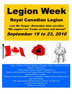 Poster for Legion Week Sept 19 to 23, 2016