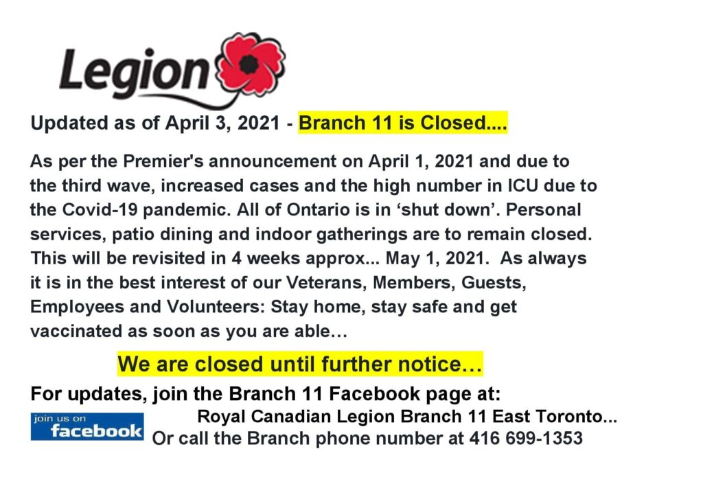 Wednesday Branch 11 Closed Until Further Notice