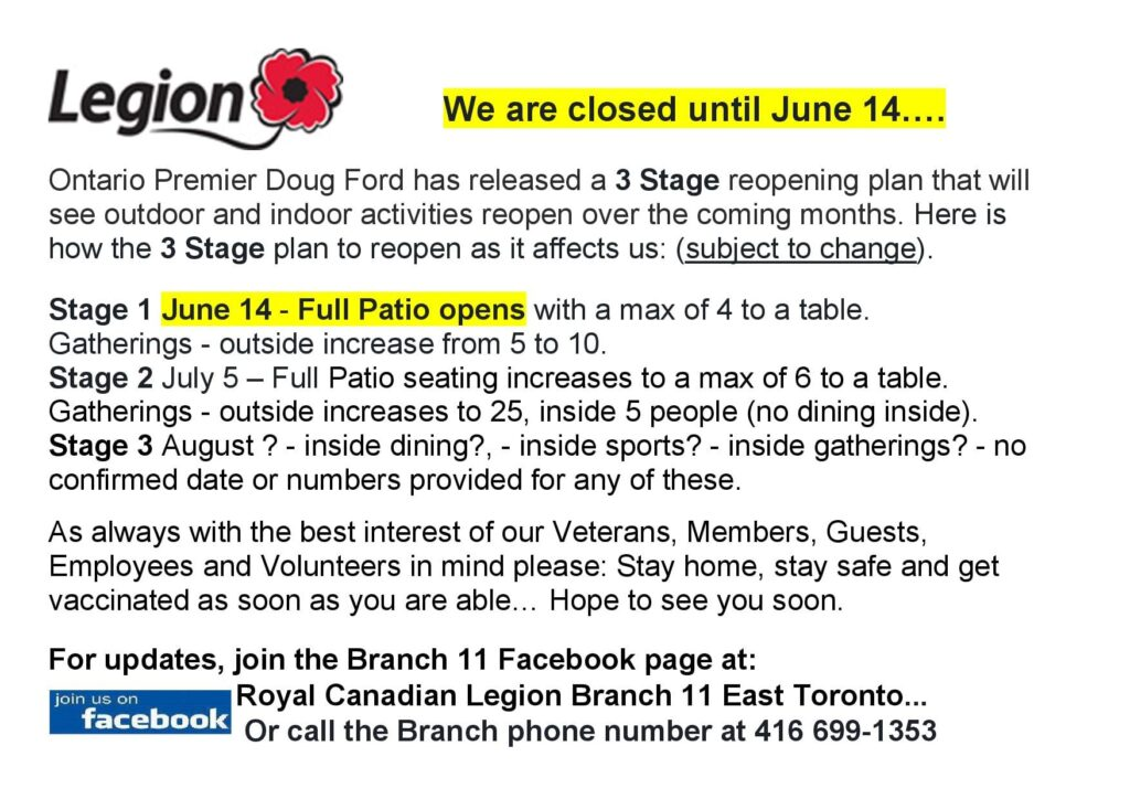Branch 11 Closed Until June 14